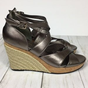 Cole Haan EUC Silver Sandal Wedges Size 8